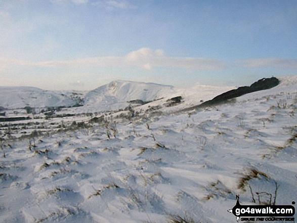 Mam Tor (centre left) from the upper slopes of Lose Hill (Ward's Piece) in heavy snow