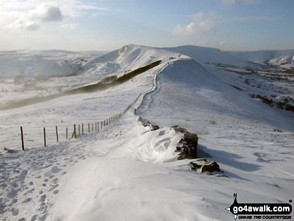 Mam Tor, Hollins Cross, Back Tor (Hollins Cross) in deep snow on the Lose Hill (Ward's Piece) ridge. Walk route map d118 Lose Hill (Ward's Piece), Back Tor (Hollins Cross) and Castleton from Hope photo
