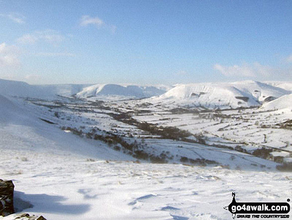 Kinder Scout and The Vale of Edale in deep snow from the Lose Hill (Ward's Piece) ridge