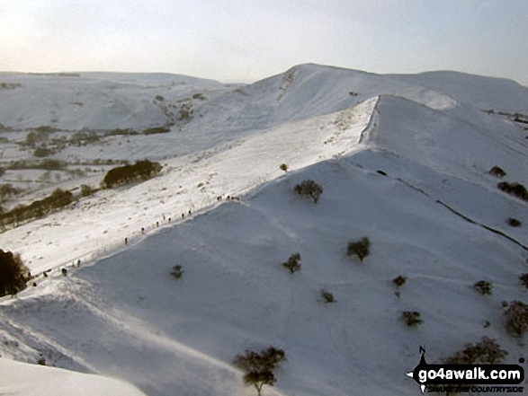 Mam Tor and Hollins Cross in deep snow from the summit of Back Tor (Hollins Cross)