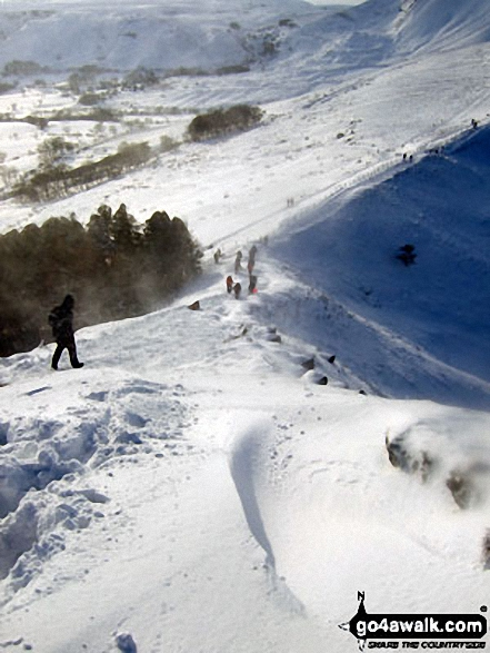 The steep descent to Hollins Cross in deep snow from the summit of Back Tor (Hollins Cross). Walk route map d118 Lose Hill (Ward's Piece), Back Tor (Hollins Cross) and Castleton from Hope photo
