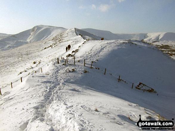 Walking the ridge towards Mam Tor in deep snow between Back Tor (Hollins Cross) and Hollins Cross
