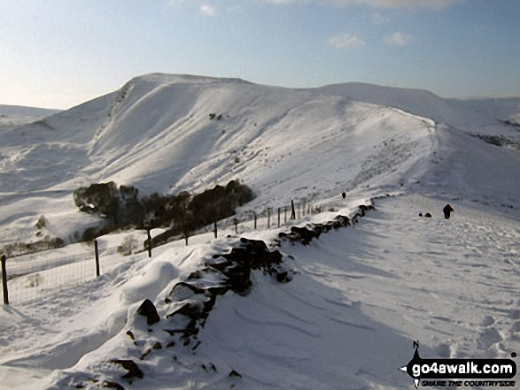 Mam Tor in deep snow from Hollins Cross. Walk route map d123 Mam Tor via Cavedale from Castleton photo