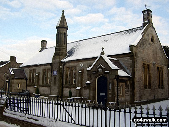 Castleton School in the snow. Walk route map d123 Mam Tor via Cavedale from Castleton photo