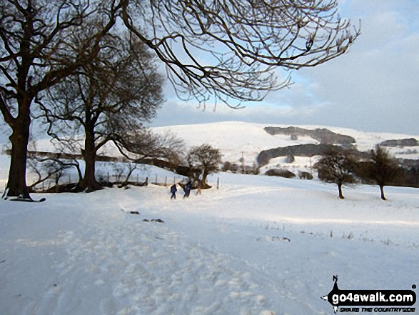 Winhill Pike (Win Hill) from snowy fields near Spring House Farm between Castleton and Hope. Walk route map d118 Lose Hill (Ward's Piece), Back Tor (Hollins Cross) and Castleton from Hope photo