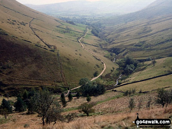 The Vale of Edale from the top of Jacob's Ladder (Edale). Walk route map d296 Jacob's Ladder and Kinder Scout from Edale photo