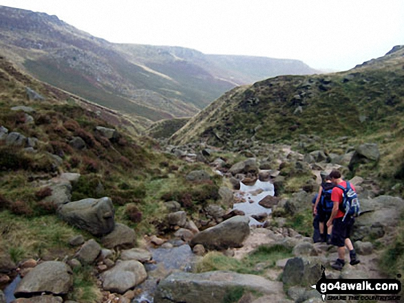 Descending Grindsbrook Clough. Walk route map d296 Jacob's Ladder and Kinder Scout from Edale photo