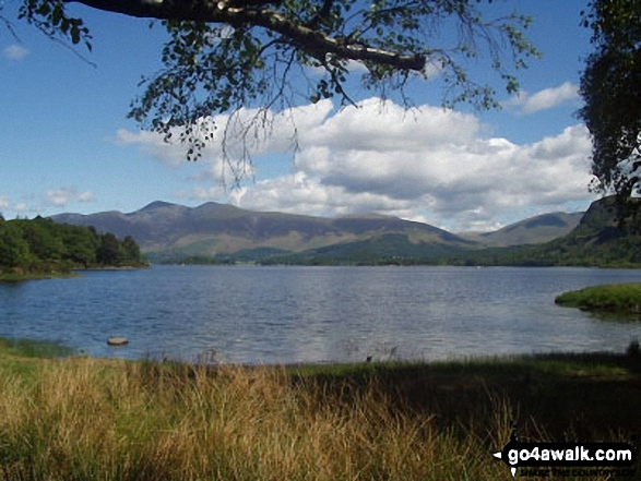 Skiddaw from Derwent Water. Walk route map c265 A Circuit of Derwent Water from Keswick photo