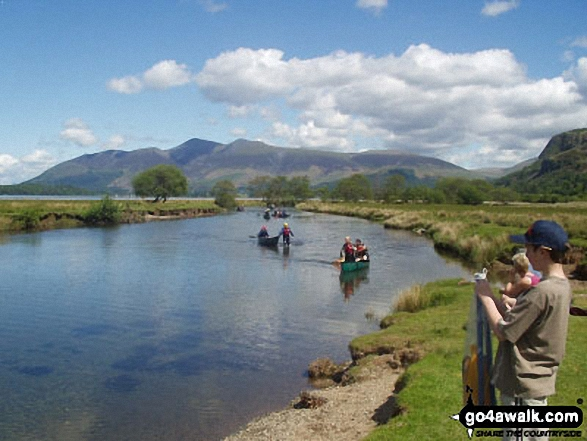 Skiddaw from The River Derwent. Walk route map c135 Castle Crag and Rosthwaite from Seatoller, Borrowdale photo