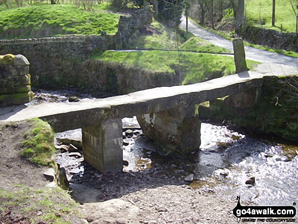 Stone footbridge across Colne Water at Wycoller