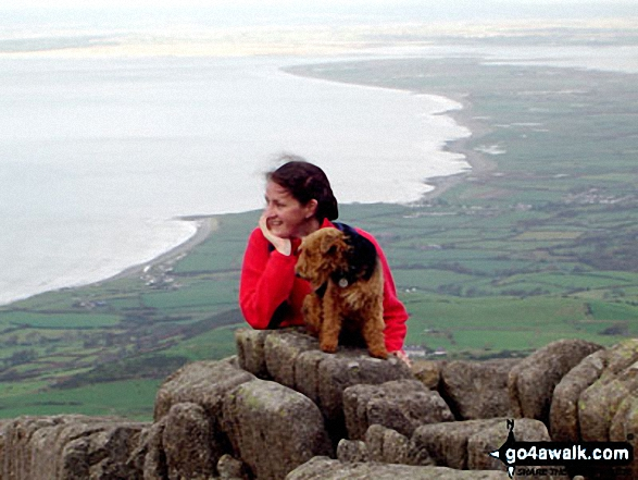 Catrin with Anni the welsh terrier on Bwlch Mawr