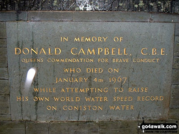 Donald Campbell Memorial, Coniston. Walk route map c400 Beacon (Blawith Fells) and Yew Bank from Brown Howe photo