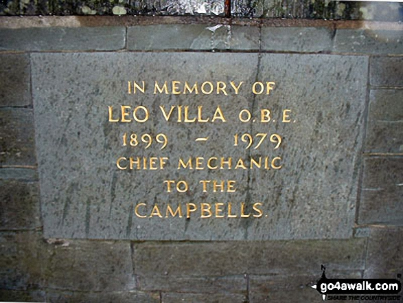 Leo Villa Memorial, Coniston. Walk route map c400 Beacon (Blawith Fells) and Yew Bank from Brown Howe photo