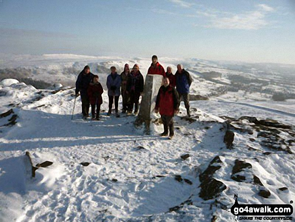 On the summit of Winhill Pike (Win Hill) in the snow