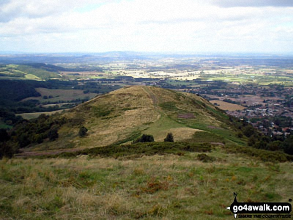 Looking North down to End Hill (Malverns) from North Hill (Malverns)