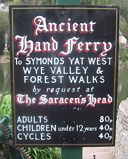 Details of the Ancient Hand Ferry across the The River Wye at Symonds Yat