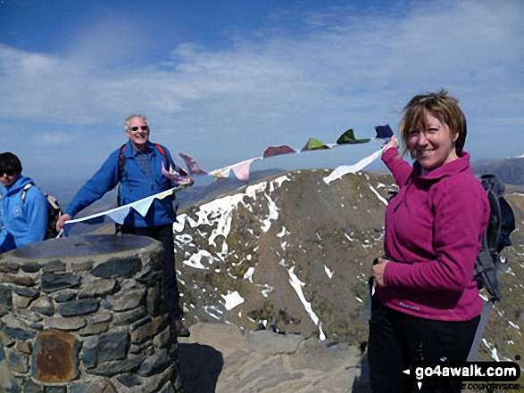 On the summit of Snowdon (Yr Wyddfa). Walk route map gw140 Snowdon via The Rhyd Ddu Path photo
