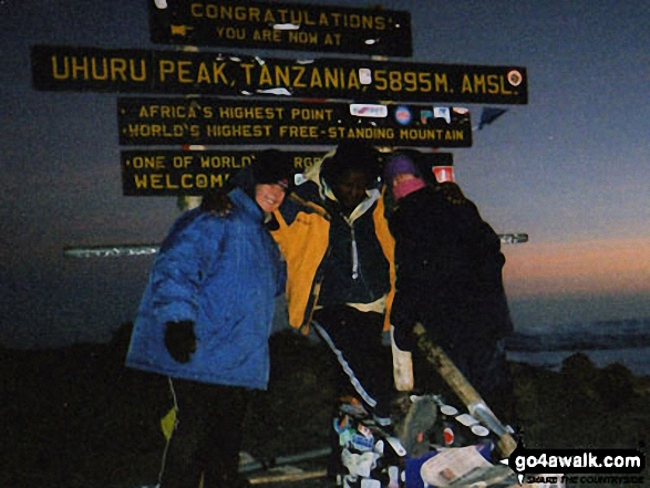 (l-r) Friend, Guide, Me on Kilimanjaro in Kilimanjaro National Park  Tanzania