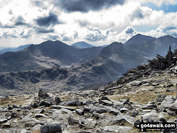 The Snowdon Horseshoe from Glyder Fach - featuring in the mid-distance: Y Lliwedd (centre left), Crib Goch (centre right), Snowdon (Yr Wyddfa) and Garnedd Ugain (Crib y Ddysgl) (far right)