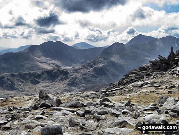 Walk gw115 Glyder Fach, Castell y Gwynt and Glyder Fawr from Ogwen Cottage, Llyn Ogwen - The Snowdon Horseshoe from Glyder Fach - featuring in the mid-distance: Y Lliwedd (centre left), Crib Goch (centre right), Snowdon (Yr Wyddfa) and Garnedd Ugain (Crib y Ddysgl) (far right)
