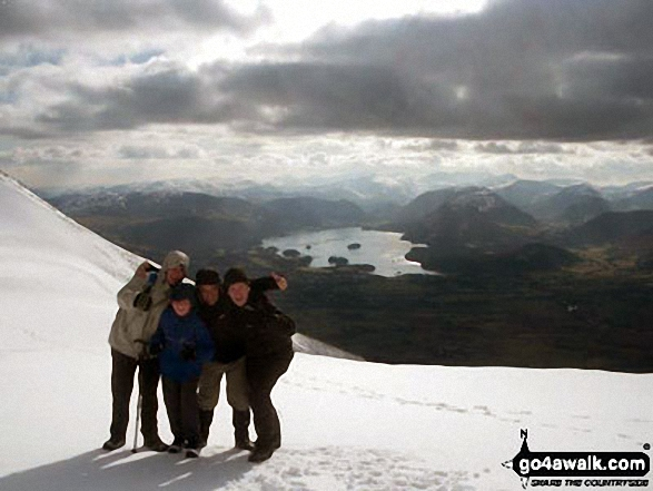 Myself, two of my sons, Matt and Richard, and my friend Gary between Skiddaw and Skiddaw Little Man on a bitter cold winters day!. Walk route map c236 Skiddaw from Millbeck, nr Keswick photo