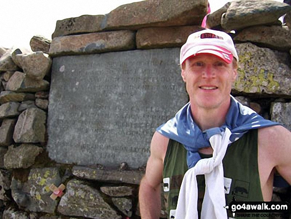 On summit of Scafell Pike in May 2010. Walk route map c197 Lingmell and Scafell Pike from Wasdale Head, Wast Water photo