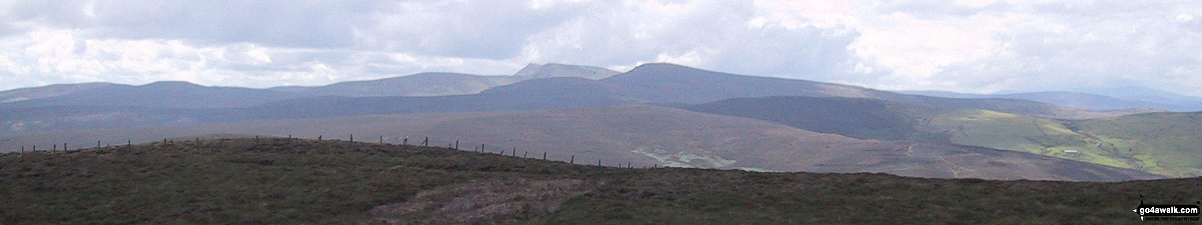 The Berwyns with Cadair Berwyn (centre left) and Cadair Bronwen (centre right) prominent from Moel Fferna
