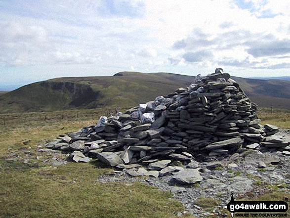 Cadair Bronwen summit cairn with Cadair Berwyn and Moel Sych in the background. Walk route map dn127 Pen Bwlch Llandrillo Top and Cadair Bronwen from Llandrillo photo