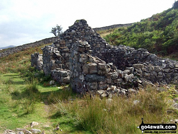 Ruined mine building beneath Bryn Bedwog on the lower slopes of Y Garn (Rhinogs)