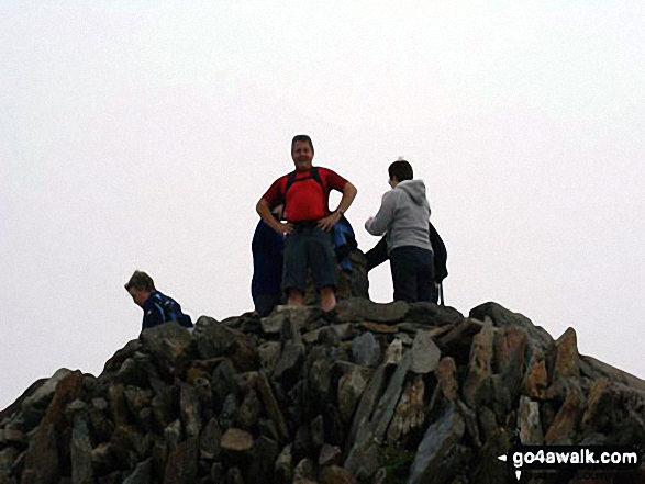 Me at the summit of Snowdon. Walk route map gw140 Snowdon via The Rhyd Ddu Path photo