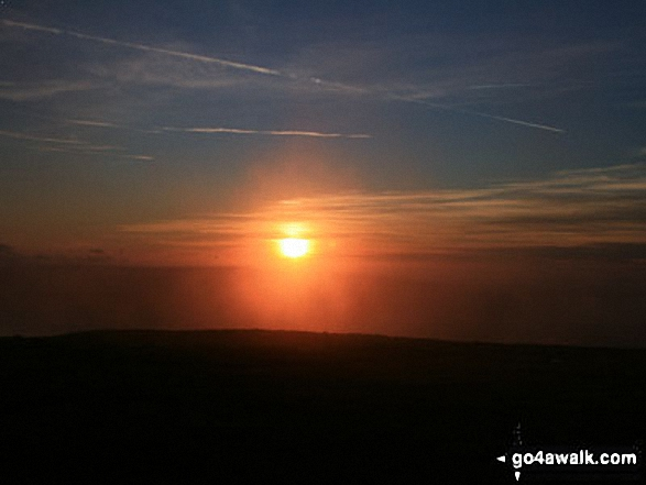 Sunset from the summit of Ingleborough. Walk route map ny101 The Yorkshire Three Peaks from Horton in Ribblesdale (New 2013 Route) photo