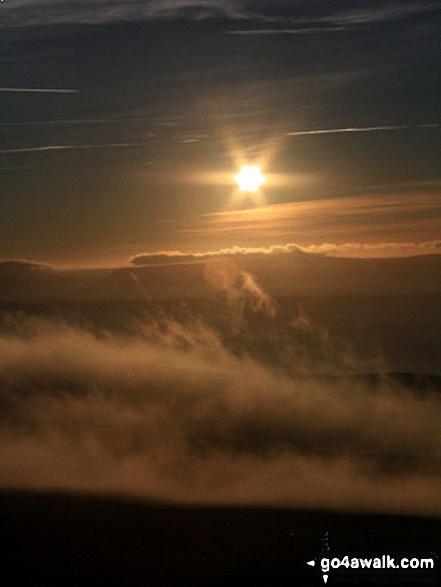 Walk ny191 Ingleborough and Raven Scar from Ingleton - Sunset from the summit of Ingleborough