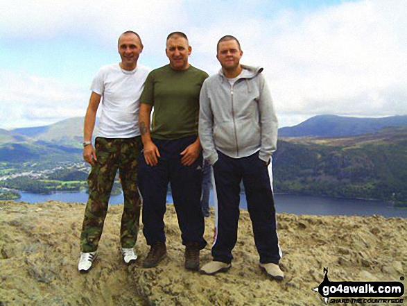 Walk c100 The Newlands Horseshoe from Hawes End - Me and my mates on top of Cat Bells (Catbells) with Derwent Water in the background
