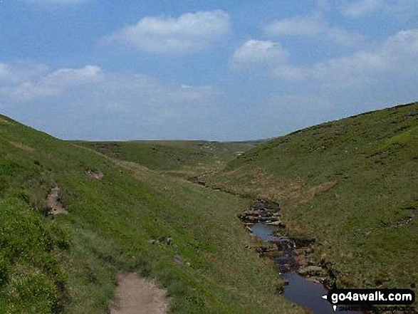 Crowden Great Brook from Castles. Walk route map d213 Black Chew Head (Laddow Rocks) and The Longdenden Trail from Hadfield photo