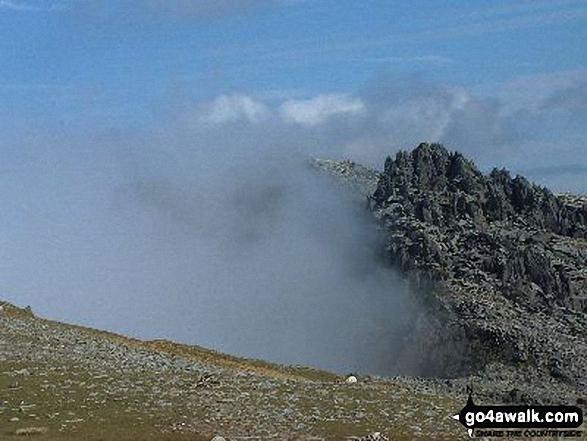 Bwlch y Ddwy-Glyder, Castell y Gwynt and Glyder Fach from Glyder Fawr in mist