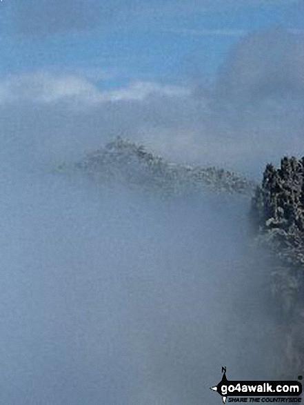 Glyder Fach in mist from Glyder Fawr