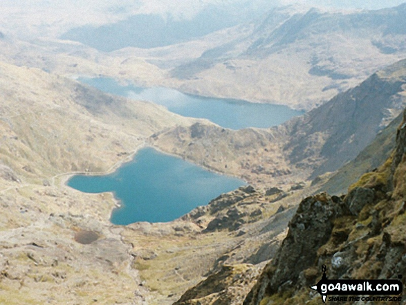 Glas Llyn from Snowdon (Yr Wyddfa). Walk route map gw107 Snowdon and Yr Aran from Rhyd Ddu photo