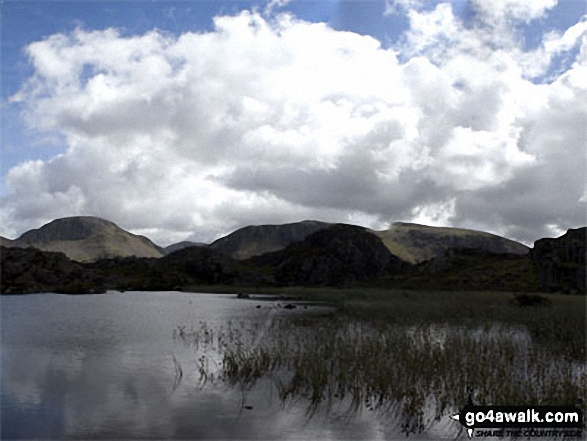 Great Gable and Pillar from Innominate Tarn, Hay Stacks. Walk route map c228 Hay Stacks from Buttermere photo