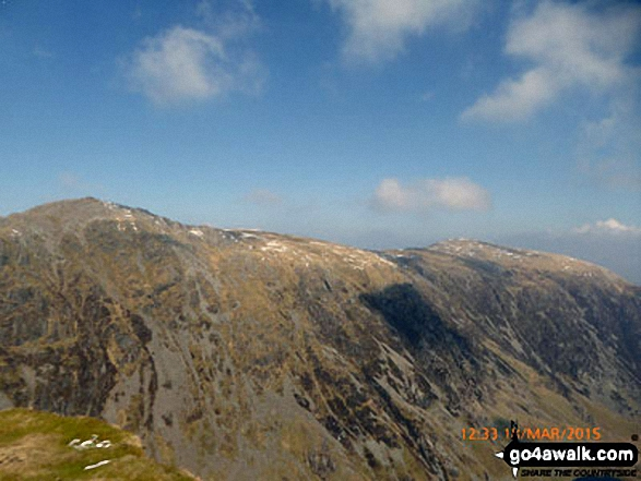Cadair Idris (Penygadair) and Mynydd Moel (right) from the summit of Craig Cwm Amarch. Walk route map gw137 Cadair Idris (Penygadair), Mynydd Moel, Craig Cwm Amarch and Cyfrwy via The Fox's Path photo