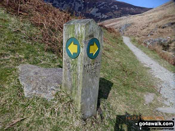Marker post on the Minffordd Path