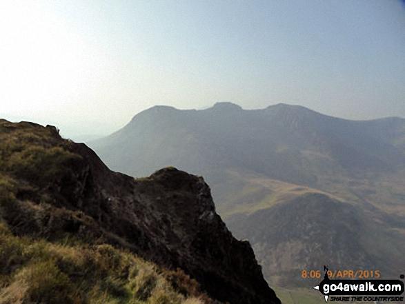 The Nantlle Ridge - Y Garn (Moel Hebog), Mynydd Drws-y-coed and Trum y Ddysgl from Craig y Bera on Mynydd Mawr (Llyn Cwellyn)