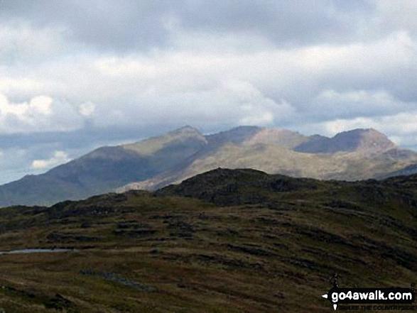 The Snowdon Range - Y Lliwedd, Snowdon (Yr Wyddfa), Garnedd Ugain (Crib y Ddysgl) and Crib Goch - from Ysgafell Wen