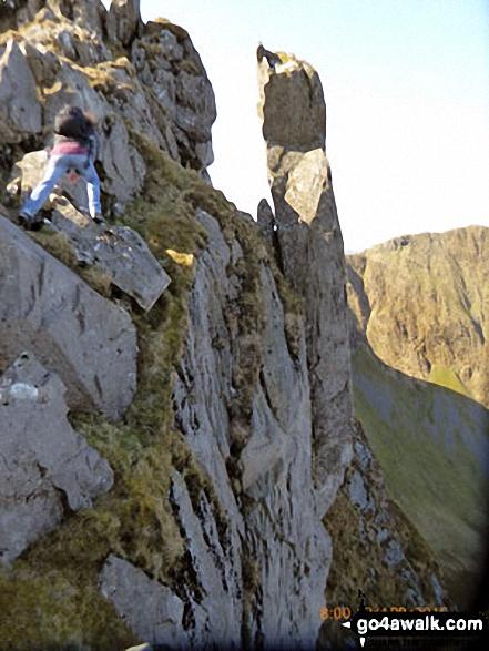 Scrambling on Mynydd Drws-y-coed on the Nantlle Ridge Note the figure top left
