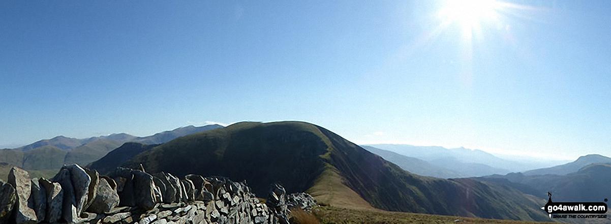 Bwlch Dros-bern and Craig Cwm Silyn  - with Gyrn Goch, Bwlch Mawr & Gyrn Ddu (far right) from the summit of Mynydd Tal-y-mignedd