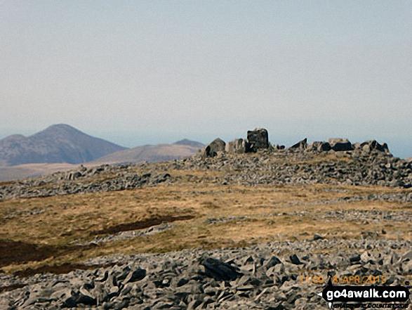 The summit of Craig Cwm Silyn with Moel Lefn, Moel yr Ogof & Moel Hebog in the background (far left)