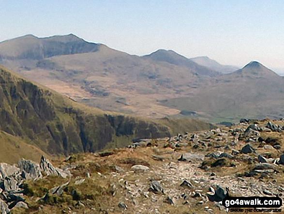 Garnedd Ugain (Crib y Ddysgl), Snowdon (Yr Wyddfa), Y Lliwedd & Yr Aran from the summit of Craig Cwm Silyn