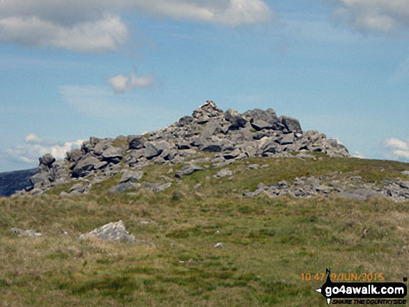 The cairn on the summit of Moel Yr Ogof