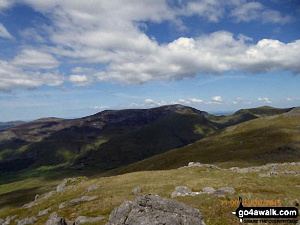 The Nantlle Ridge - Garnedd-goch, Craig Cwm Silyn, Mynydd Tal-y-mignedd, Bwlch Dros-bern and Mynydd Drws-y-coed - from Moel Yr Ogof