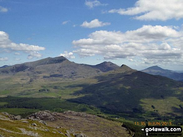 Snowdon (Yr Wyddfa) (left), Yr Aran and Carnedd Moel Siabod (right) from the summit of Moel Lefn