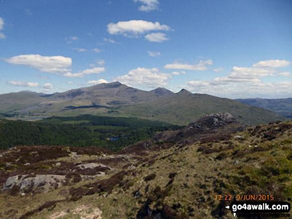 Snowdon (Yr Wyddfa) (left), Yr Aran and Carnedd Moel Siabod (right) from Bwlch Cwm-trwsgl